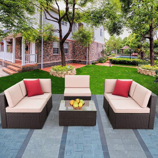 Ulibarri 6 Piece Rattan Sectional Seating Group with Cushions by Red Barrel Studio Red Barrel Studio