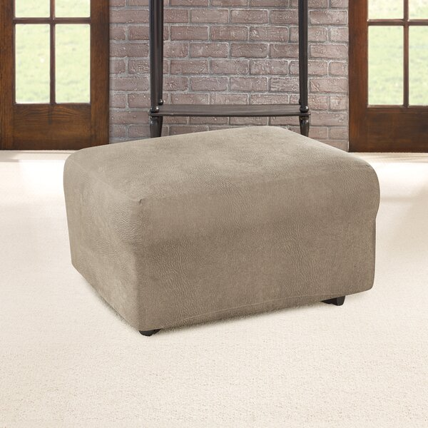 Ultimate Heavyweight Stretch Leather Box Cushion Ottoman Slipcover By Sure Fit