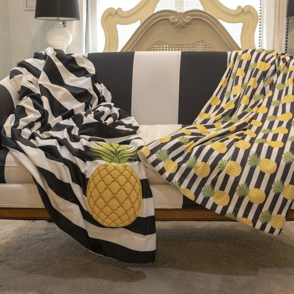 Andover Pineapple Stripe Micromink Decorative Throw by Bay Isle Home