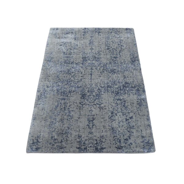 One-of-a-Kind Port Augusta Abstract Oriental Hand-Knotted Silk Gray Area Rug by World Menagerie