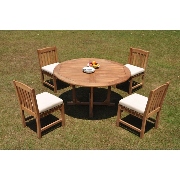 Kylee 5 Piece Teak Dining Set by Rosecliff Heights
