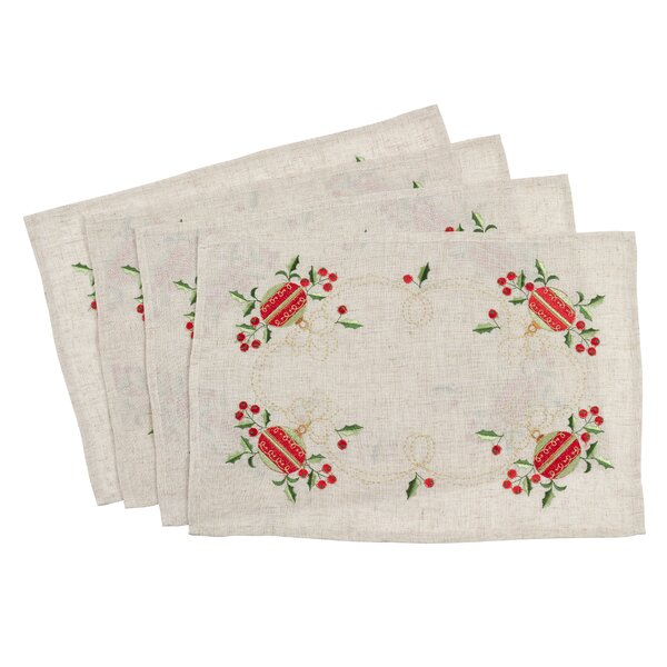 Embroidered Ornament Christmas Holiday Placemat (Set of 4) by The Holiday Aisle