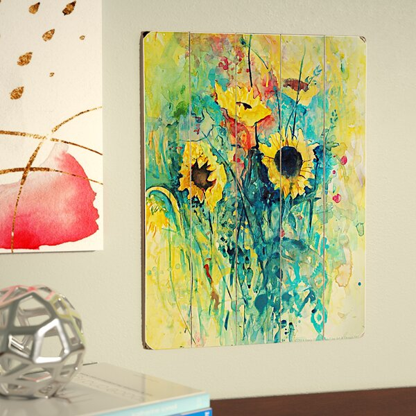Watercolor Sunflowers Painting Print by Latitude Run