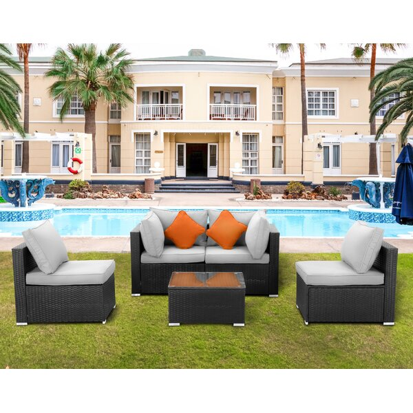 Odder 5 Pieces Rattan Sofa Seating Group With Cushions By Latitude Run by Latitude Run Purchase