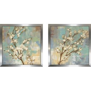 'Kyoto Blossoms II' 2 Piece Framed Print Set on Glass by Red Barrel Studio
