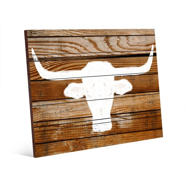 Longhorn on Wood Graphic Art on Plaque by Click Wall Art