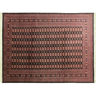 One-of-a-Kind Baeza Hand-Knotted Black Area Rug Isabelline