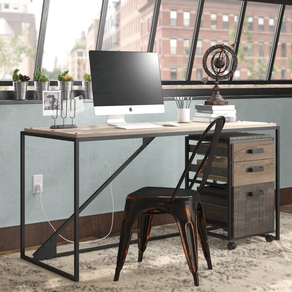 Edgerton Industrial 2 Piece Desk Office Suite with 3 Drawer Cabinet by Greyleigh