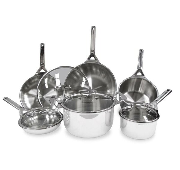 Gourmet 10-Piece Stainless Steel Cookware Set by True Induction