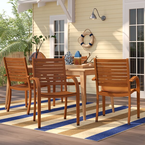 Frye Stacking Patio Dining Chair (Set of 4) by Beachcrest Home Beachcrest Home