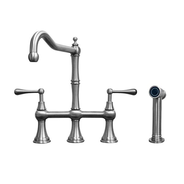 Waterhaus Bridge Faucet with Solid Side Spray by Whitehaus Collection