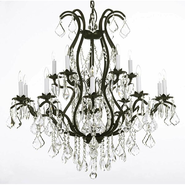 Alvan 15-Light Candle Style Tiered Chandelier By Astoria Grand