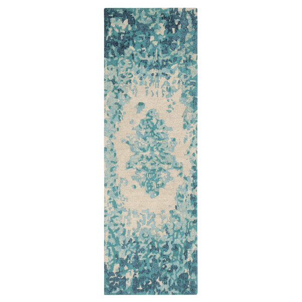 Looking Glass Abstract Handmade Tufted Blue/Beige Area Rug