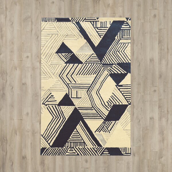 Patnode Hand-Tufted Beige/Blue Area Rug by Wrought Studio