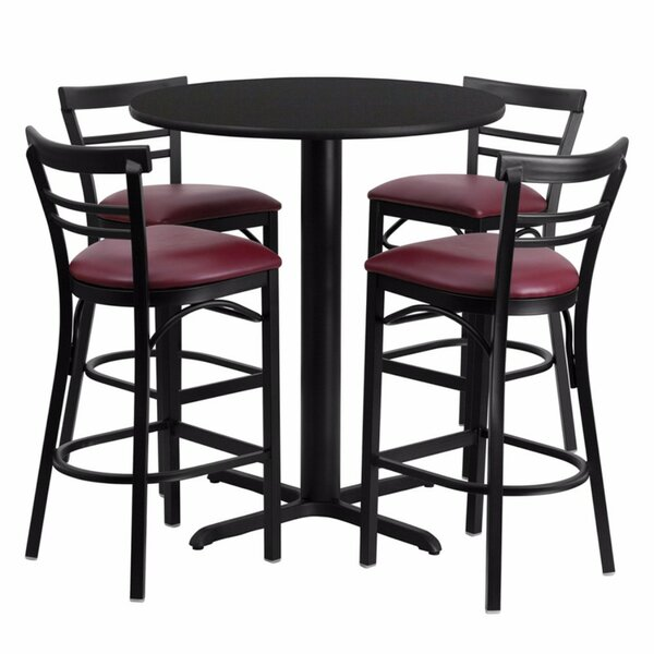 Alvarez Modern Round Laminate 5 Piece Pub Table Set by Red Barrel Studio