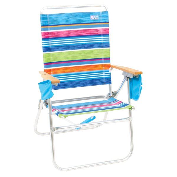 Hi-Boy Reclining/Folding Beach Chair by Rio Brands