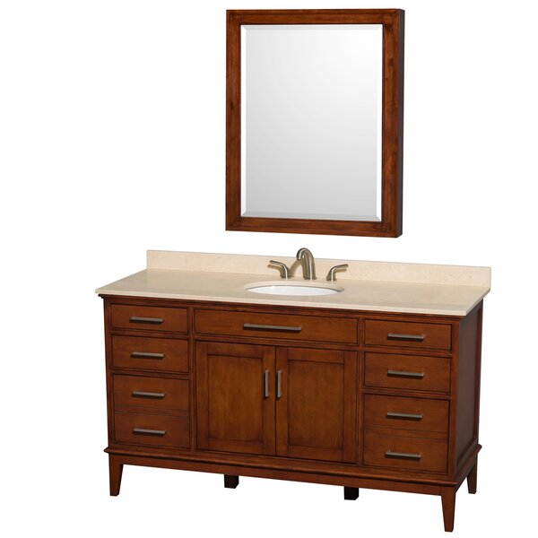 Hatton 60 Single Light Chestnut Bathroom Vanity Set with Medicine Cabinet by Wyndham Collection