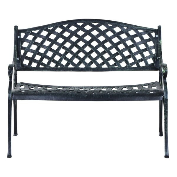 Brazil Decorative Grid Pattern Cast Aluminum Garden Bench by Fleur De Lis Living