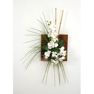 Silk Orchid Bamboo And Gr Wall Arrangement In Wood Sushi Tray