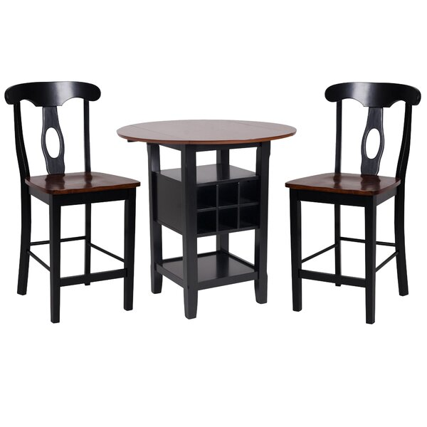 Yates 3 Piece Counter Height Drop Leaf Dining Set (Set of 3) by August Grove