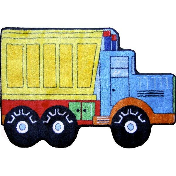 Fun Shape High Pile Dump Truck Area Rug by Fun Rugs