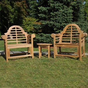 Lutyens Teak Indoor/Outdoor 3 Piece Lounge Seating Group Regal Teak