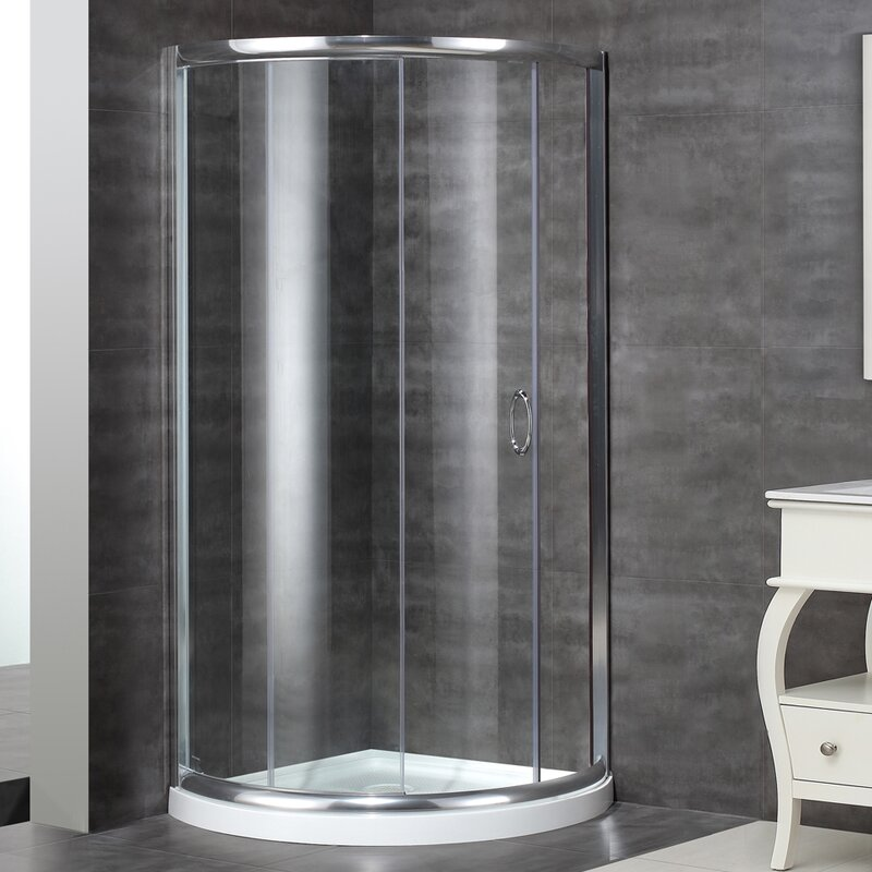 default_name & Aston Neo-Angle Door Round Shower Enclosure with Shower Base ... Pezcame.Com