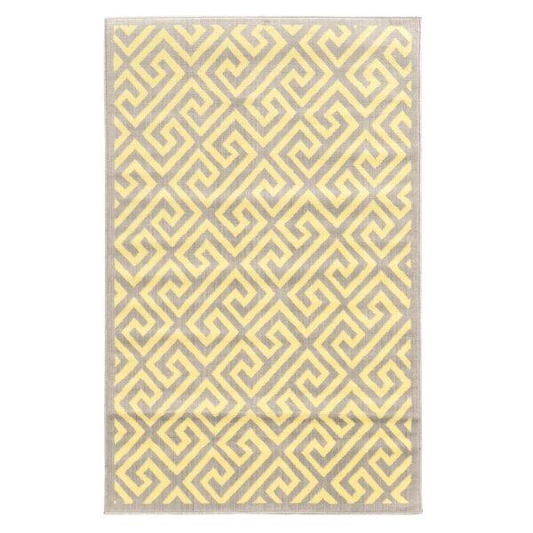 Allicia Grey/White Greek Key Rug by Orren Ellis