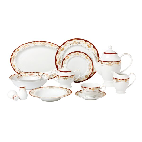 La Luna Bone China 57 Piece Dinnerware Set, Service for 8 by Lorren Home Trends