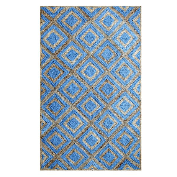 Hand-Woven Cotton Blue Area Rug by Affinity Linens
