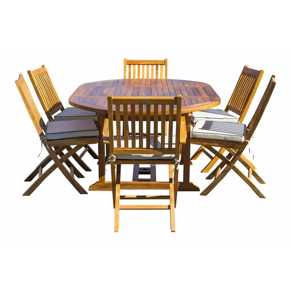 Everleigh 7 Piece Teak Sunbrella Dining Set with Cushions by Bay Isle Home