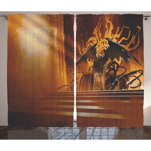 Dark Fiction Throne Décor Graphic Print Room Darkening Rod Pocket Curtain Panels (Set of 2) by East Urban Home