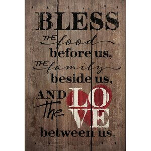 'Bless the Food Before Us' by Tonya Gunn Textual Art on Plaque by Artistic Reflections