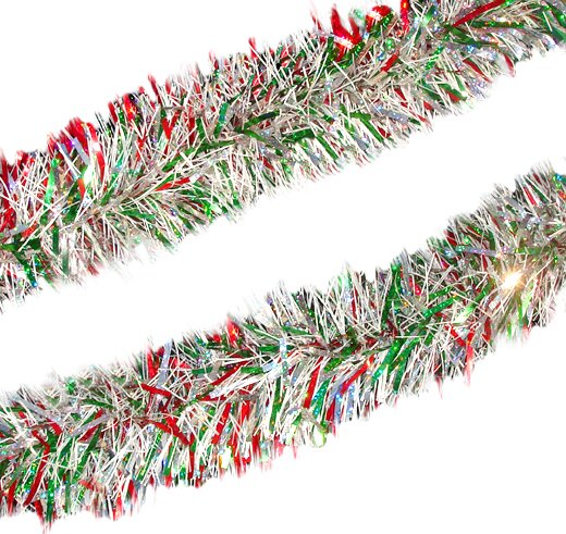 Holographic Christmas Tinsel Garland with Unlit by Northlight Seasonal