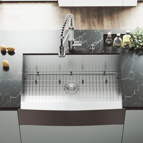 33 L x 22 W Farmhouse Apron Single Bowl 16 Gauge Stainless Steel Kitchen Sink with Edison Stainless Steel Faucet, Grid, Strainer and Soap Dispenser by VIGO