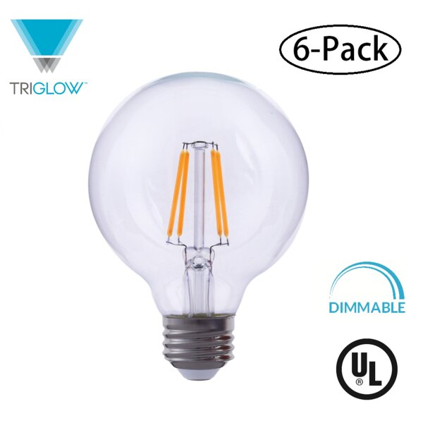 60W Equivalent E26 LED Globe Edison Light Bulb (Set of 6) by TriGlow
