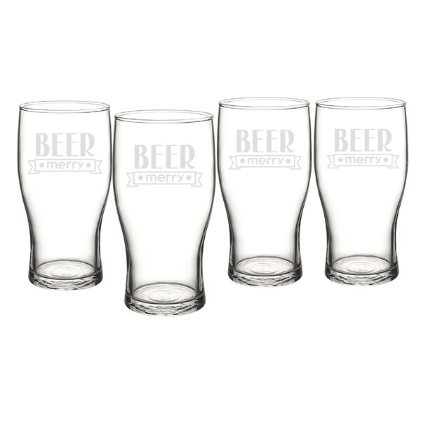 Holiday Beer Merry 19 oz. Pilsner Glass (Set of 4) by Cathys Concepts