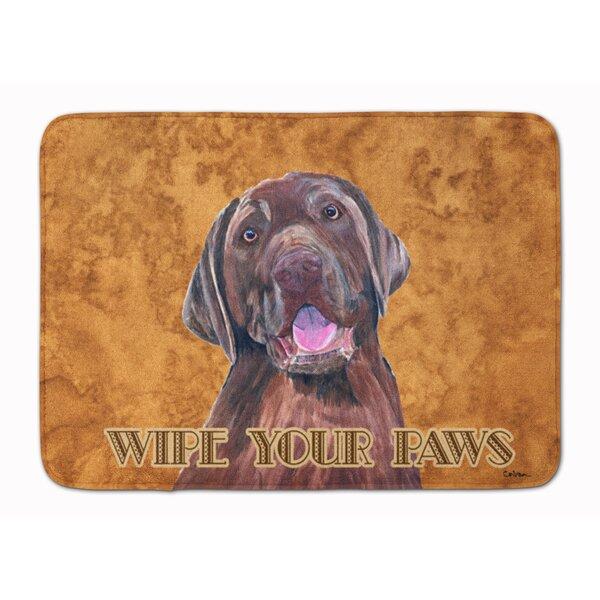 Kildare Labrador Wipe your Paws Rectangle Microfiber Non-Slip Bath Rug