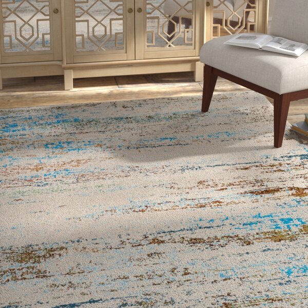 Billerica Distressed Lines Gray/Blue Area Rug by Bungalow Rose