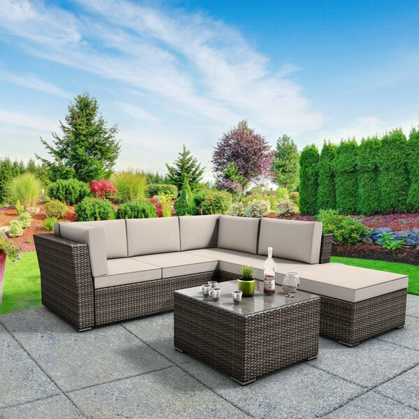 Brink 5 Piece Sectional Seating Group with Cushions by Latitude Run