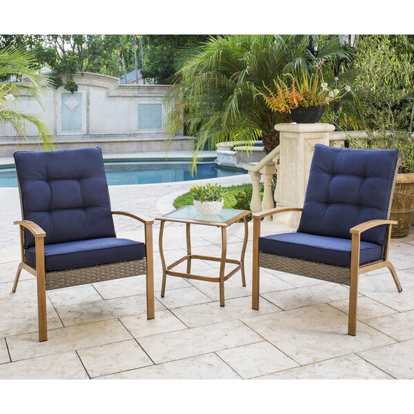 Tennyson 3 Piece Rattan Sofa Seating Group with Cushions by Longshore Tides