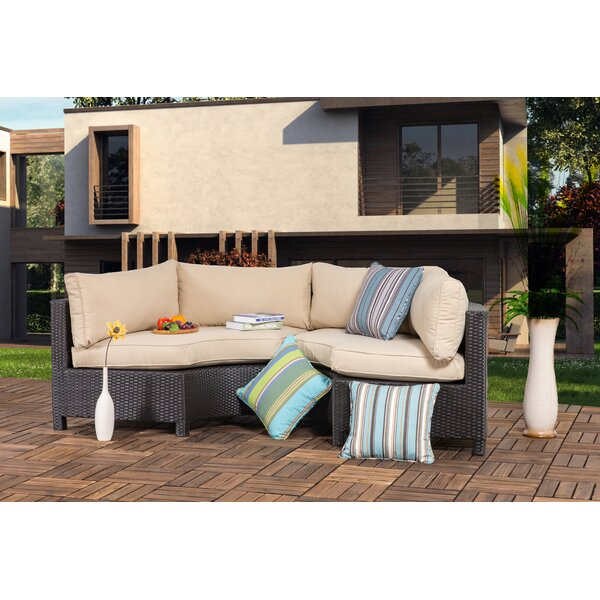 Zaina Outdoor 2 Pieces Curved Sofa Seating Group with Cushions by Gracie Oaks