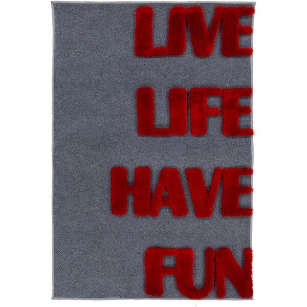 Doreen Red/Charcoal Area Rug by Zoomie Kids