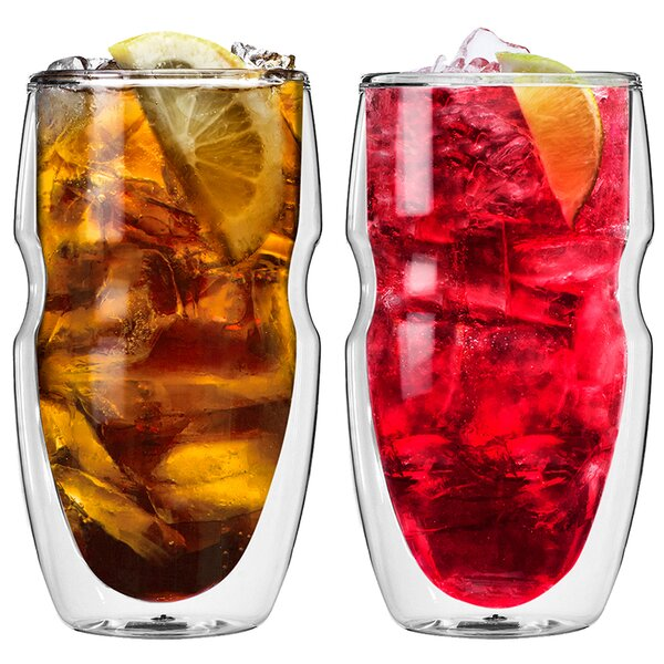 Serafino Double Wall 16 oz Insulated Iced Tea and Coffee Glasses (Set of 2) by Ozeri