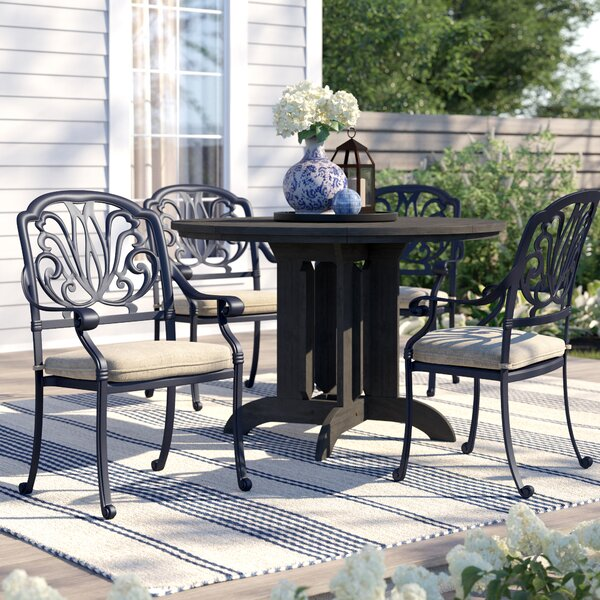 Lebanon Stacking Patio Dining Chair with Cushion (Set of 4) by Three Posts