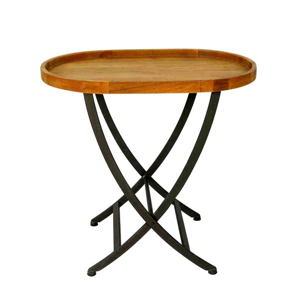 Wooden Round Folding Tray Table by Jeco Inc.