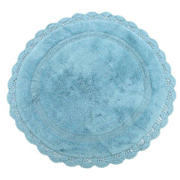 Wingfield Round Crochet Designer Plush Cotton Rug (60 inches, Aqua Blue) by Ophelia & Co.