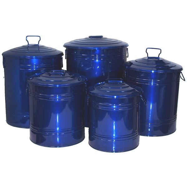 5 Piece Galvanized Enameled Manual Lift Recycling Bin Set by Houston International