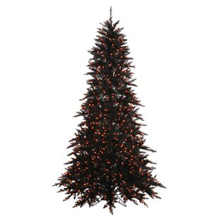 6.5' Black Fir Slim Artificial Christmas Tree with 600 LED Orange Lights with Stand with Stand