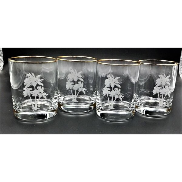 Xylotambou Palm Tree 14 oz. Old Fashioned Glass (Set of 4) by Beachcrest Home